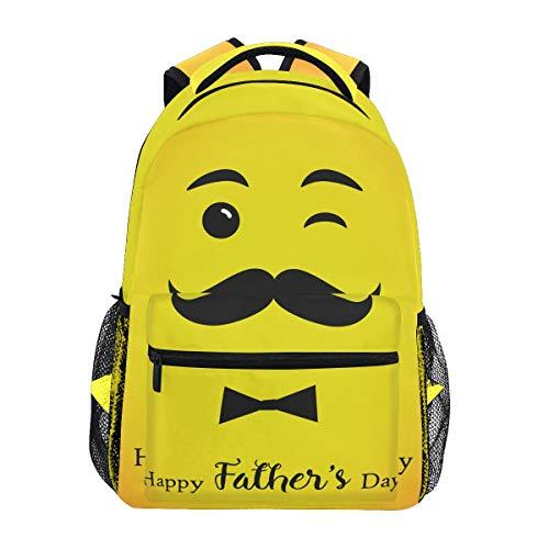 Wamika Vatertag Emoji-Rucksack, wasserdicht, Schulranzen-Tasche, Gymnastikrucksack, gelber Schnurrbart, Schleife, Laptoptasche, Outdoor, Reisetasche, für Kinder, Jungen, Mädchen, Frauen, Herren