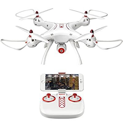 DoDoeleph Syma X8SW RTF FPV Real Time 4 CH 2.4Ghz 6 Axis Gyro Remote Control RC Quadcopter UFO Helicopter Drone With HD Camera Altitude Hold Headless Mode With Hover Function One Key Take Off Landing White