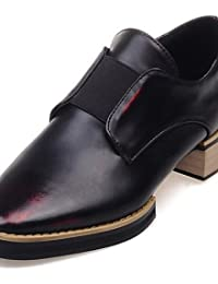 NJX/ Zapatos de mujer - Tacón Bajo - Punta Redonda - Oxfords - Casual - Semicuero - Negro / Blanco , black-us7.5 / eu38 / uk5.5 / cn38 , black-us7.5 / eu38 / uk5.5 / cn38