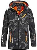 Geographical Norway Herren Softshell Outdoor Jacke Rainman/Royaute Camo Turbo-Dry Kapuze Black/orange 3XL