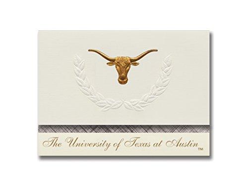 Signature Ankündigungen der University of Texas AT Austin Ankündigungen, platin Stil, Basic Pack 20mit u. von texas-austin Logo Folie