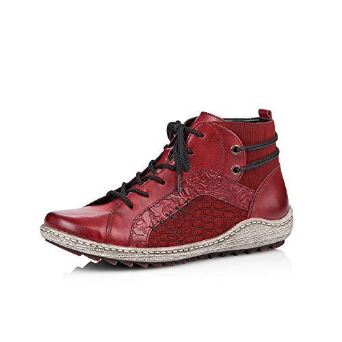 Remonte Damen Stiefeletten R1499, Frauen Schnürstiefelette, leger Boot halb-Stiefel schnür-Bootie,mohn,37 EU / 4 UK