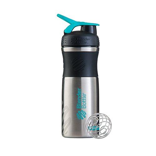 BlenderBottle Sportmixer Acier Inoxydable / Bouteille d'eau / Protéine Shaker Noir/Teal/Acier (1 x 820 ml)