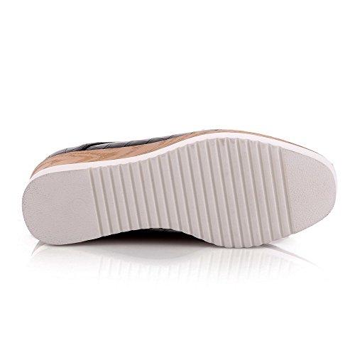 Senhoras Macio Bombas Alto Puramente Voguezone009 Preto De Pé Dedo Material Quadrado Sapatos Lace Do Salto HH6qr