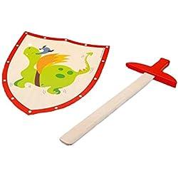 Juego Justo tiene caballeros! Espada de madera con el dragón verde escudo / escudo aprox 29 x 34 cm / 54 cm espada
