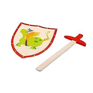 Scratch Juego Justo Tiene Caballeros! Espada de Madera con el dragón Verde Escudo / Escudo Aprox 29 x 34 cm / 54 cm Espada