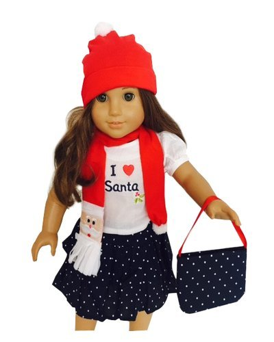 Doll Clothes- Five Piece Santa Ruffled Skirt Outfit for 18