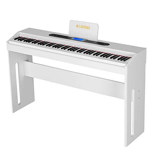 LAGRIMA E-300 Digital Piano Keyboard 88 Tasten mit Pedale, Adapter & USB/MP3 Weiß