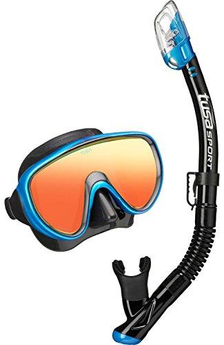 Tusa Serene Mirro Lens - Schnorchelset tauchset schnorchel taucherbrille schnorchelmaske erchwachsene (Mirror Lens Blau) Mirro Top