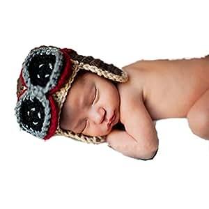 Dreammadestudio Bonnet fantaisie pour bébé en crochet imitation bonnet d'aviateur avec lunettes