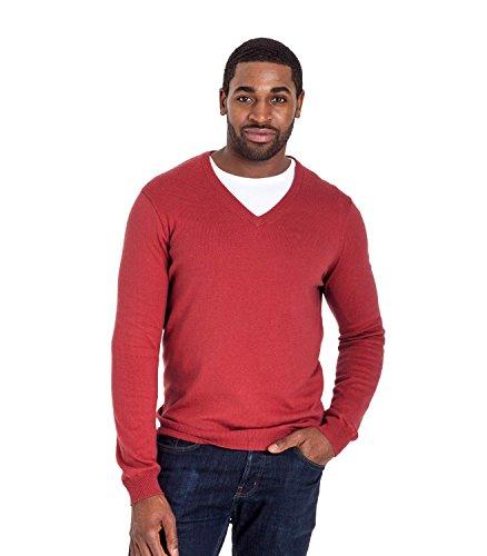 WoolOvers Strick-Pullover mit V-Kragen - unisex - Herren (Cotton-Cashmere) - C23 Russet Red