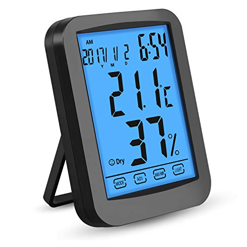 Thermometer Hygrometer, Digitales Thermo Hygrometer Inne Luftfeuchtigkeit Temperatur 【LCD Display| Blau Hintergrundbeleuchtung| Touchscreen| Alarm Wecker| Kalender| Uhrzeit| Nowtime】 für Schlafzimmer, Schwarz