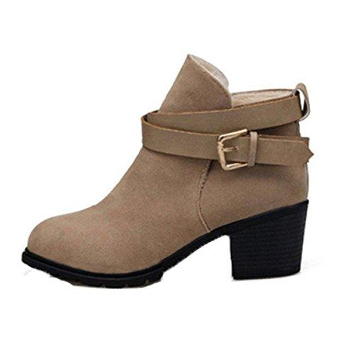 ZARU Señoras de tacón bajo las botas del tobillo de la hebilla de correa Martin botas nieve de las mujeres para el invierno ★cuero artificial★ (37,
