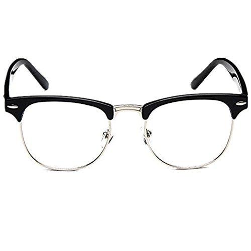 MISI US Vintage Retro Classic Half Frame Sunglasses For Men Women Clear Lens Glasses