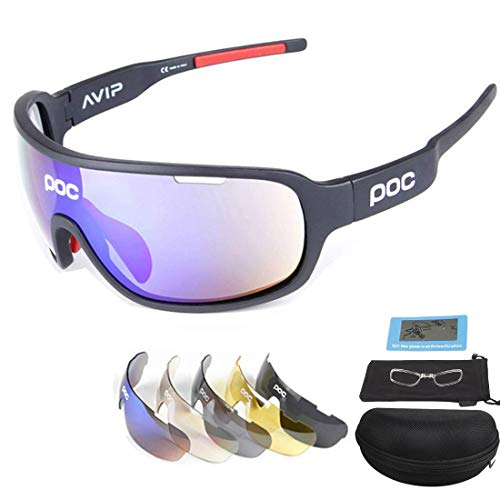 Sport.ing occhiali da sole polarizzati ultraleggeri, occhiali da equitazione sportivi unisex per esterni, occhiali a prova di sabbia, compresi cinque obiettivi intercambiabili