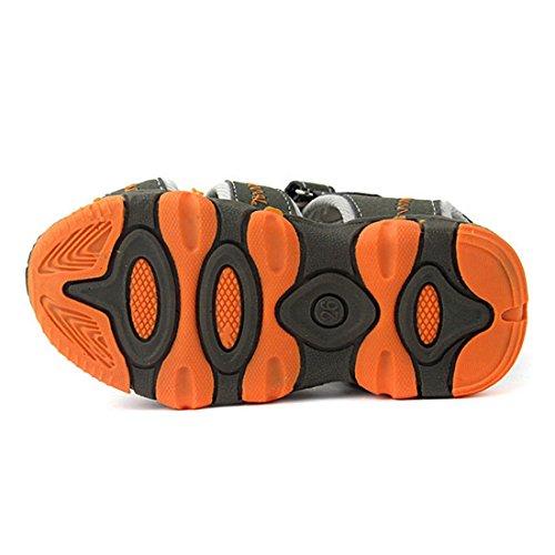 Vertvie Enfant Garçon Fille Été Sandales de Marche Extérieur Plates Souple Semelle Velcro Chaussures Sport Bout Fermé Tongs Antidérapant Orange