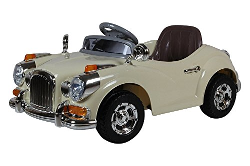 getbest vintage kids ride on car with battery & remote control, 2-piece, beige Getbest Vintage Kids Ride on Car with Battery & Remote Control, 2-Piece, Beige 41p 2B6DMU33L