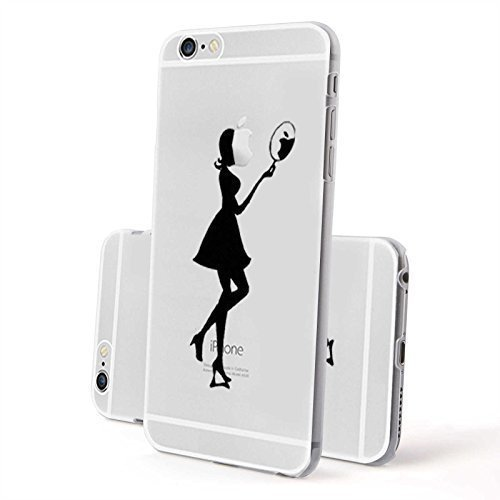 FINOO ®   Iphone 5 / 5S Hardcase Handy-Hülle   Transparente Hart-Back Cover Schale mit Motiv Muster   Tasche Case mit Ultra Slim Rundum-schutz   stoßfestes dünnes Bumper Etui   Frau Hund Frau mit Spiegel