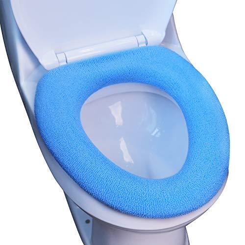Tatuo bagno morbido più spessi scaldino copriwater cuscinetto copertura estensibile lavabile panno coprisedia cuscino (blu liscio)