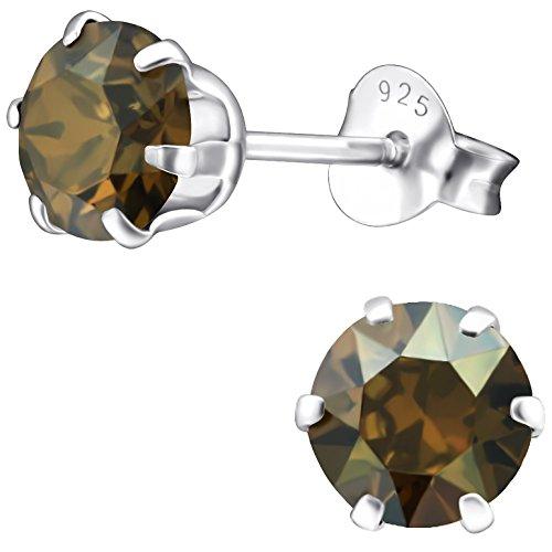 EYS JEWELRY Damen Ohrstecker rund 925 Sterling Silber Swarovski Elements 6 mm bronze-braun Ohrringe im Geschenk-Etui Glitzer Kristalle