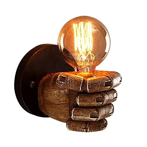TXOTN Wandleuchten Beleuchtung Industrie Loft Bar Cafe Linke Hand Faust Harz Dekor Beleuchtung für Schlafzimmer Nacht Wohnzimmer Küche Insel Esszimmer Korridor E27 Schraube 11 * 7,5 cm (Glühlampe Fertig Wandleuchte)