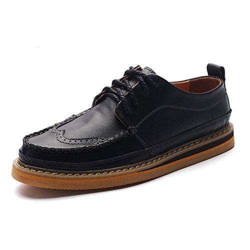 Feidaeu Automne Homme Chaussure à Lacet Cuir Souple Loisirs Hidden Wedge Confortable Brogue Noir