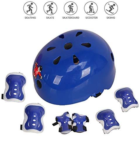 Protecciones Infantiles Skate Bicicleta Monopatín Casco, Protección Infantil Consta de Casco Ajustable Rodilleras Coderas, Patinaje Ciclismo Monopatín y Deportes Extremos (Azul, S(3-5 años))