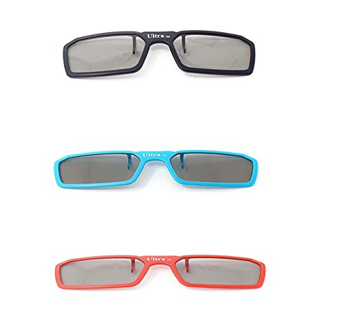 Ultra 3 Paare von Clip Auf Passiven 3D-Brillen 1 Blau 1 Rot 1 Schwarz für Männer Frauen Geeignet Verschreibungspflichtige Brillen Rundschreiben polorized Eyewear-Stil alle Passivfernsehkinos und Projektoren Wie RealdD Toshiba LG Sony Panasonic