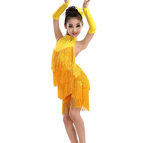 Mädchen Schönheitswettbewerb Mädchen Sleeveless Neckholder Backless Quaste Latin Dance Kleid Kinder Ballsaal Salsa Samba Rumba Dancewear Kinder Performance Wettbewerb Tanz Kostüme Stickerei Ballkleid