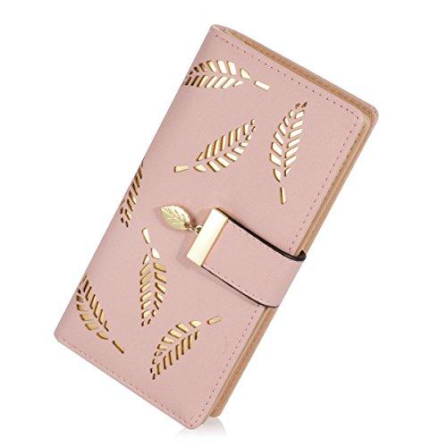 Damen Süß Leder Geldbörse, TMEOG Damen Blatt Bifold Brieftasche Leder Hollow Card Holder Geldbörse Clutch Handtasche (L_Rosa) (Geldbörse Leder-clutch Damen)