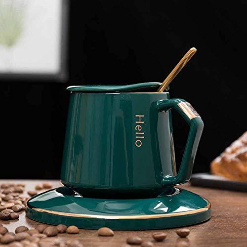 YanJot Kreative Becher Kaffee Tasse Milch Bürogeschäft Werbegeschenk Tasse Keramik-Tasse - grün mit Deckel Löffel