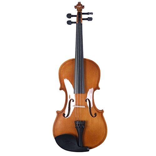 4/4 Geige Geigen Violine Violinen für Anfänger inkl. Bogen, Koffer und Kolophonium aus Holz in 2 verschiedenen Farben (Natur)