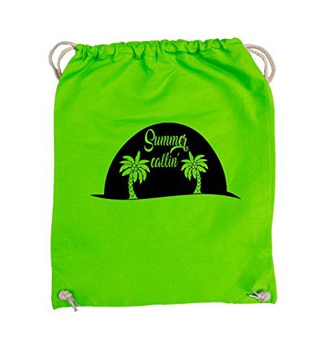 Comedy Bags - Summer callin - PALMEN - Turnbeutel - 37x46cm - Farbe: Schwarz / Pink Hellgrün / Schwarz