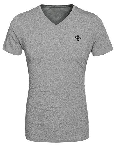 Aulei Herren V-Ausschnitt Kurzarm T-Shirt Kurzarmhemd Freizeit Grau