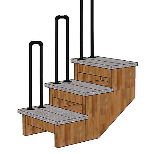 Außen treppen Handlauf Geländer Treppengeländer Passt 1 Schritt U-Typ Matt-schwarz Schmiedeeisen Eingangsgeländer Brüstungsgeländer mit Einbausatz für Gartenkorridor Balkon
