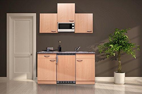 respekta KB150BBMI Single Küche Küchenzeile Küchenblock Buche mit Mikrowelle