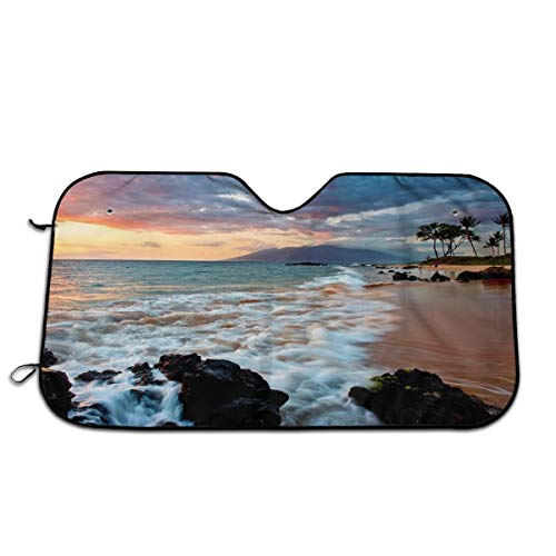 LDDDP Wailea Makena Beach Maui Hawaii Sonnenschutz für Sonnenblende, Sonnenblende, Sonnenblende, Sonnenblende, 13,3 x 68,6 cm, hitzebeständig, für die meisten Autos