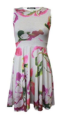 comfiestyle nouvelle taille plus Femme sans manches imprimé floral robe Patineuse. UK 8–26 White Tiedie