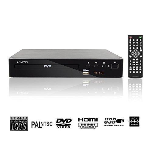 LONPOO USB 2.0 Externes DVD CD Rom Laufwerk Multimedia Digital DVD-Player 720p Region frei ( USB, MP3,HDMI,CD Ripping)- Full Function Remote & LED Display -schwarz Multi Region Pal Ntsc Dvd-player