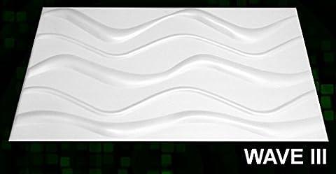 New 3D Board Wall Cladding Tiles Wallpaper Interior Decorative Panels - 12 Sqm-WAVE III 3D 100cm x 50cm by top.eco.wall