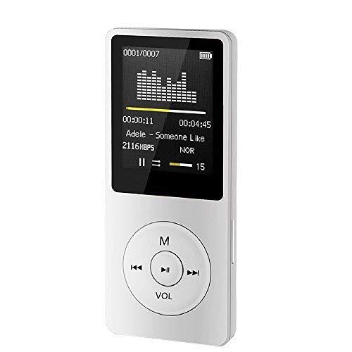 2019 Neueste!!!MP3 MP4 Player, MP3 Player, 70 Stunden Wiedergabezeit MP3 Player, LCD Bildschirm FM-Radio Videospiele Film FM-Radio Sprachaufnahme Musik Player Musikspieler (Weiß)
