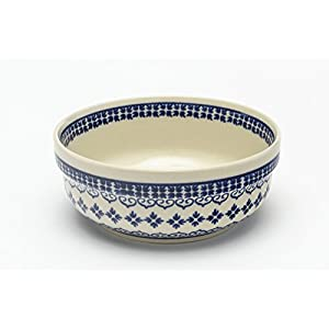 Boleslawiec Pottery Hand Made Breakfast Bowl, pattern 922