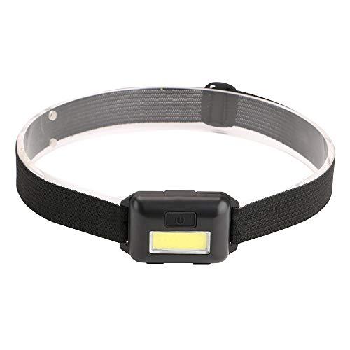 Scheinwerfer-Taschenlampe - 3 x AAA-Batterien betrieben, 3 Modi leuchtend weiße LED, ideal für Läufer, geringes Gewicht, wasserdicht, verstellbares Kopfband, 3 AAA-Batterien enthalten (Schwarz)