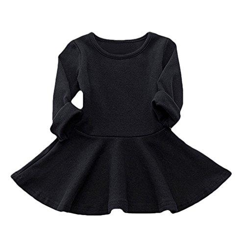 ODJOY-FAN Baby Mädchen Baumwollekleid Einfarbig Falten Kleid Süßigkeiten Farbe Langarm Prinzessinenkleid Solide Beiläufig Kinder Kleid O-Ausschnitt A-Linie Röck(Schwarz,104)
