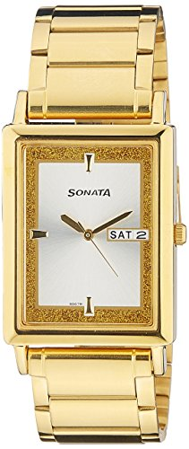 41p%2BBuxh4cL - Sonata 77003YM03 Wedding Collection Gold Mens watch