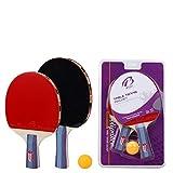 WYFWYF Mazza da Ping-Pong 2 Set di Palline E Custodie - Racchetta da Tennis Power TT da Tavolo - Include 2 Set di Pipistrelli, 1 Palla di Marca E Copertura Protettiva