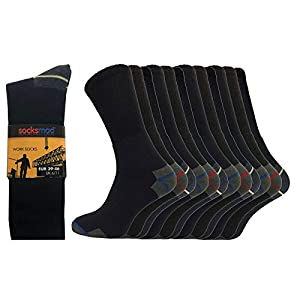 41p%2BDyDjMAL. SS300  - Socksmad Heavy Duty Work Socks - 12 Pairs Safety Boot Working Socks - Reinforced Heels and Toes - Cotton Rich Cushion…