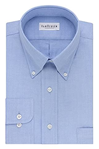 Van Heusen Men's Long-Sleeve Oxford Dress Shirt - Blue