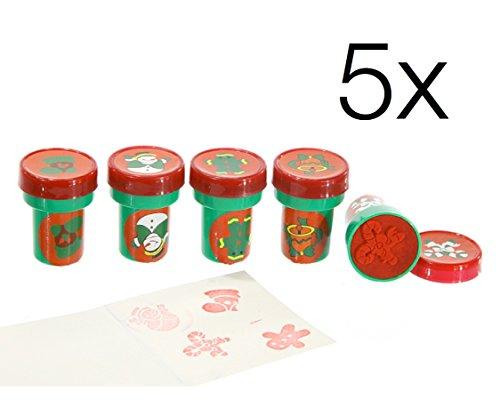 5x Stempel Mitgebsel Weihnachten Weihnachtsstempel Advent Motiv zur Dekoration von Geschenken &...