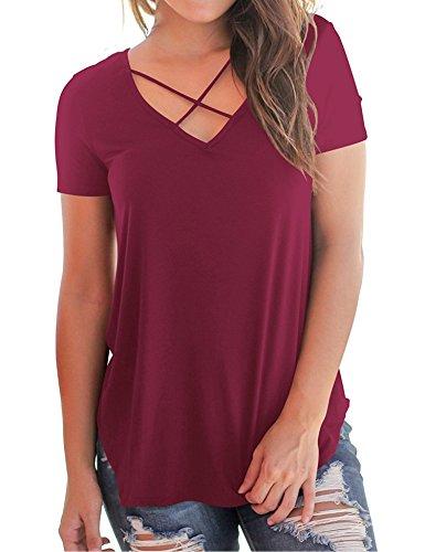 Damen T Shirt Locker Sexy und Lässig 2018 Sommer V Ausschnitt Kurzarm Oberteil.